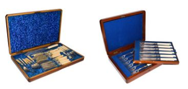A Victorian mahogany canteen of ivory handled silver plated cutlery comprising, a pair of fish