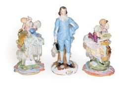A Sitzendorf figure, Gainsborough's The Blue Boy, 29cm high, together with a pair of Continental