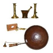 Assorted metalware to include an Ane Christensen metal bowl, a pair of brass ejector candlesticks,