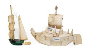 A Chinese bone carved model of a boat with three figures, 18cm high and a similar with malachite