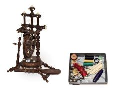 A 19th century apprentice made miniature spinning wheel with bone mounts 34cm, together with a