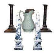 A pair of old Sheffield plate candlesticks, late 18th/early 19th century, with circular drip pans on
