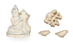 A Japanese Meiji Period carved ivory figure or a demon with urn (a.f.), 9cm high