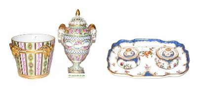 A 20th century Dresden Neo-Classical style jardiniere 22cm and rose jar 38cm, both ornamented with