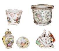 A collection of Continental porcelain including Capodimonte figure group , Dresden yellow ground jar