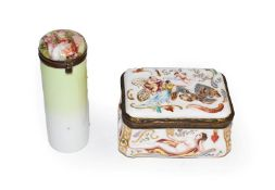 A 19th century Italian porcelain table snuff box in the Capodimonte style, moulded with Classical