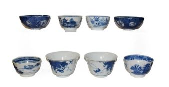A small pair of Japanese blue and white finger bowls, signed, together with a quantity of similar
