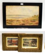 G A Waterston, pair of winter river landscapes, oils, 13cm by 24cm, together with a coastal view,