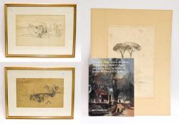 In the manner of William James Müller (1812-1845), three pencil sketches, unsigned (two framed)