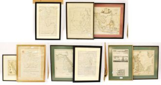 A quantity of framed and glazed maps to include East Indies, Arabia, Sudan, British Isles, 35cm by