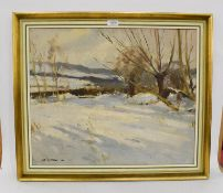 Edward Wesson (1910-1983) Snowscape, signed, oil on board, 49cm by 60cm