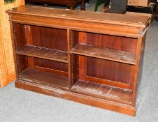 A Regency mahogany open double bookcase with adjustable shelves, 143cm by 30cm by 92cm high,