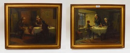 Alexander Rosell (1859-1922) Pair of interior scenes, figures dining, oils on canvas, signed, 34cm