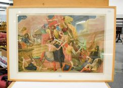 After Colin Unwin Gill (1892-1940) King Alfred's long ships defeat the Danes 877AD, the original