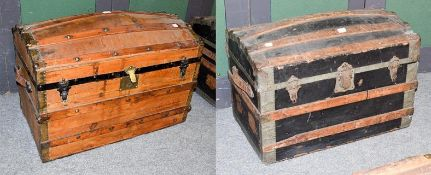 Two 19th century wood and metal bound dome-top steamer trunks, largest 84cm by 48cm by 60cm high (2)