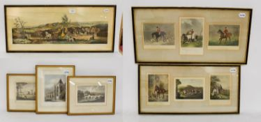 Three 19th century equestrian prints, together with three similar topographical prints (6)