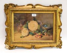 Attributed to William Bartholomus (?) RA, still life with grapes and bird nest, mixed media on