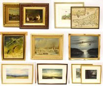 A mixed lot of oil paintings, watercolours and prints, to include Frank Graham Noble, chickens, oil,