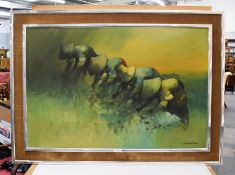 Cesar Buenaventura (20th century) Rice field, signed, oil on canvas, 60cm by 90cm