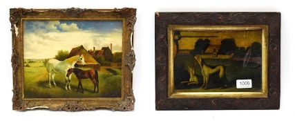 British school (20th century) A horse and her foal, oil on board, 38.5cm by 49cm, together with a