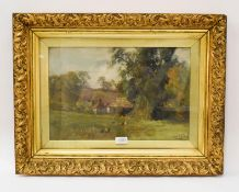 European school (late 19th century) country cottages in landscape, indistinctly signed, oil on