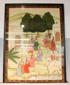 A large framed Indian goache picture on silk, depicting a deity and attendants in a landscape, 105cm