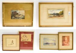 A mixed lot of 19th and 20th century watercolours and inks, to include W L Leitch, 8.5cm by 17cm,