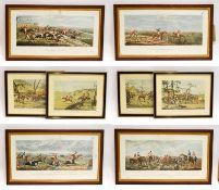 A set of John Dean Paul racing and hunting prints, Leicestershire, 33cm by 63cm, together with a set