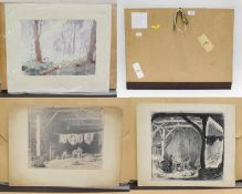 George Soper (1870-1942) folio with three works, charcoal and watercolour, interior and landscape