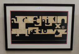 Eric Platt, alphabet on board, mixed media, signed and dated 1970, 46cm by 78cm