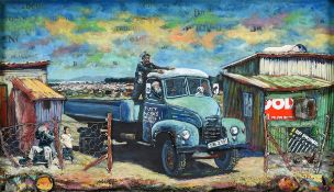 Willie Bester (b.1956) South African Figures and dog in a blue truck before a township Signed and