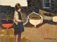 Donald McIntyre RCA (1923-2009) Scottish Girl before fishing boats Signed, oil on board, 29.5cm by