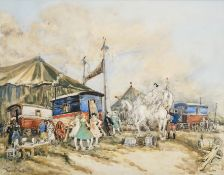 Frank Will (1900-1951) French ''Le Cirque'' Signed, pencil and watercolour, 32cm by 41cm Artist's