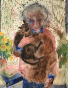 Norman Adams RA (1927-2005) ''Self Portrait holding Siegfried the Burmese Cat'' Initialled,