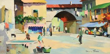 Cecil Rochfort D'Oyly John (1906-1993) ''Mougins Hill Village, near Cannes'' Signed, inscribed