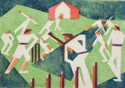 Edith Lawrence (1890-1973) ''Cricket'' Signed, inscribed and numbered 8/25, linocut, 30cm by 37cm (