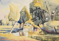 Edith Lawrence (1890-1973) Landscape with cattle Signed, watercolour, together with four further