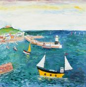 Simeon Stafford (b.1959) ''St Ives'' Signed, inscribed verso, oil on canvas, 80cm by 80cm Artist's
