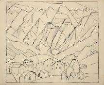 Edith Lawrence (1890-1973) Swiss town Pen, ink and pencil, together with two further mixed media
