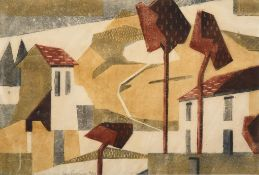 Edith Lawrence (1890-1973) Houses and trees Signed and numbered 4/50, linocut, 22cm by 32.5cm