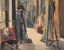 Dame Laura Knight RA, RWS, RE, RWA, PSWA, DBE (1877-1970) In the wings Signed, watercolour, 29cm
