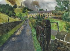 Trevor Stubley (1921-2010) Figures before houses in a West Yorkshire landscape Signed, watercolour