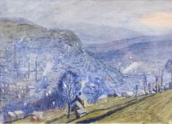 Frederick (Fred) Cecil Jones RBA (1891-1966) ''Hebden Bridge'' Signed, watercolour, 16cm by 22cm