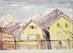 Edith Lawrence (1890-1973) Swiss mountain village Signed, indistinctly inscribed, watercolour,