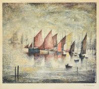After Laurence Stephen Lowry RBA, RA (1887-1976) ''Sailing Boats'' Signed, with the Fine Art Trade