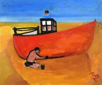 Eileen Bell (1907-2005) ''Working on Boat'' Monogrammed and dated (19)88, inscribed verso, oil on