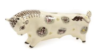 A Wedgwood Queensware Taurus the Bull, designed by Arnold Machin, printed with signs of the