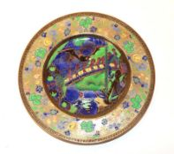 A Rare Wedgwood Fairyland Lustre Imps on a Bridge - The Roc Centre W1050 Lincoln Plate, designed
