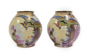 A Pair of Art Deco Carlton Ware Chinese Bird Pattern Ovoid Vases, enamelled in colours on a yellow