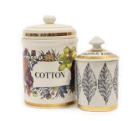 Piero Fornasetti (1913-1988): A Cotton Jar and Cover, circa 1960's, printed with flowers within gilt